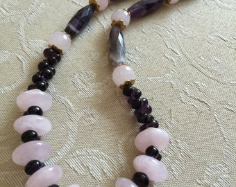 Indian Amethyst and Rose quartz necklace with matching earrings