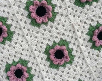 Baby blanket, Pink Poppies