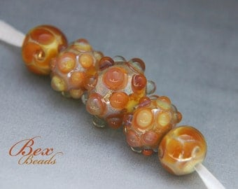 Peachy Keen lampwork bead set
