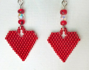 Beaded Heart Earrings with Aurora Borealis Crystal and Red E-Beads, Large Heart