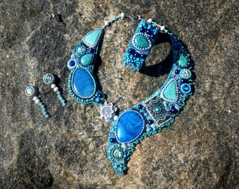 Blue Turquoise Embroidered necklace Bead Embroidery Jewelry Set Wedding Necklace Beadwork necklace Earrings Bracelet Agate  wedding Festival