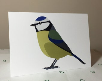 Blue Tit bird greeting card - blank inside