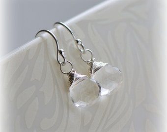 Quartz Earrings in Sterling Silver, Tiny Clear Quartz Dangle Earrings, April Birthstone Jewelry, Gift For Her, Crystal Earrings ~ Blissaria