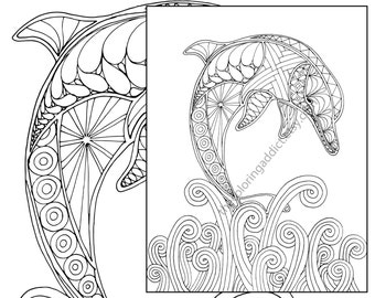 dolphin coloring page, adult coloring sheet, nautical coloring, ocean colouring book, printable sea coloring, digital dolphin drawing pdf