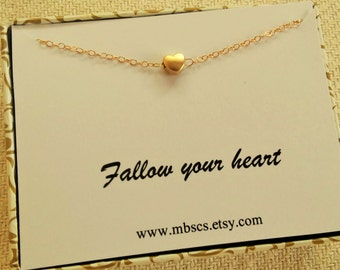 Gold Heart Necklace, I Love You Card Necklace, Minimalist Heart Necklace, Valentines  Day Gift, Heart card necklace