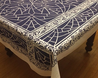 Vintage Floral Geometric Tablecloth w/6 Matching Napkins