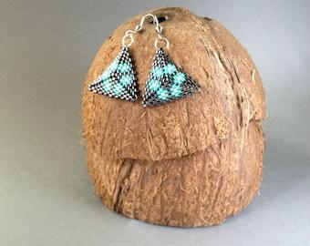 Handmade beaded peyote triangle earrings