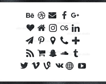 Social Media Icons, Black Foil Icons, Black Button, Social icons, Website icons, Blog icons, Resume Icons, Business Card Icon, Social Button