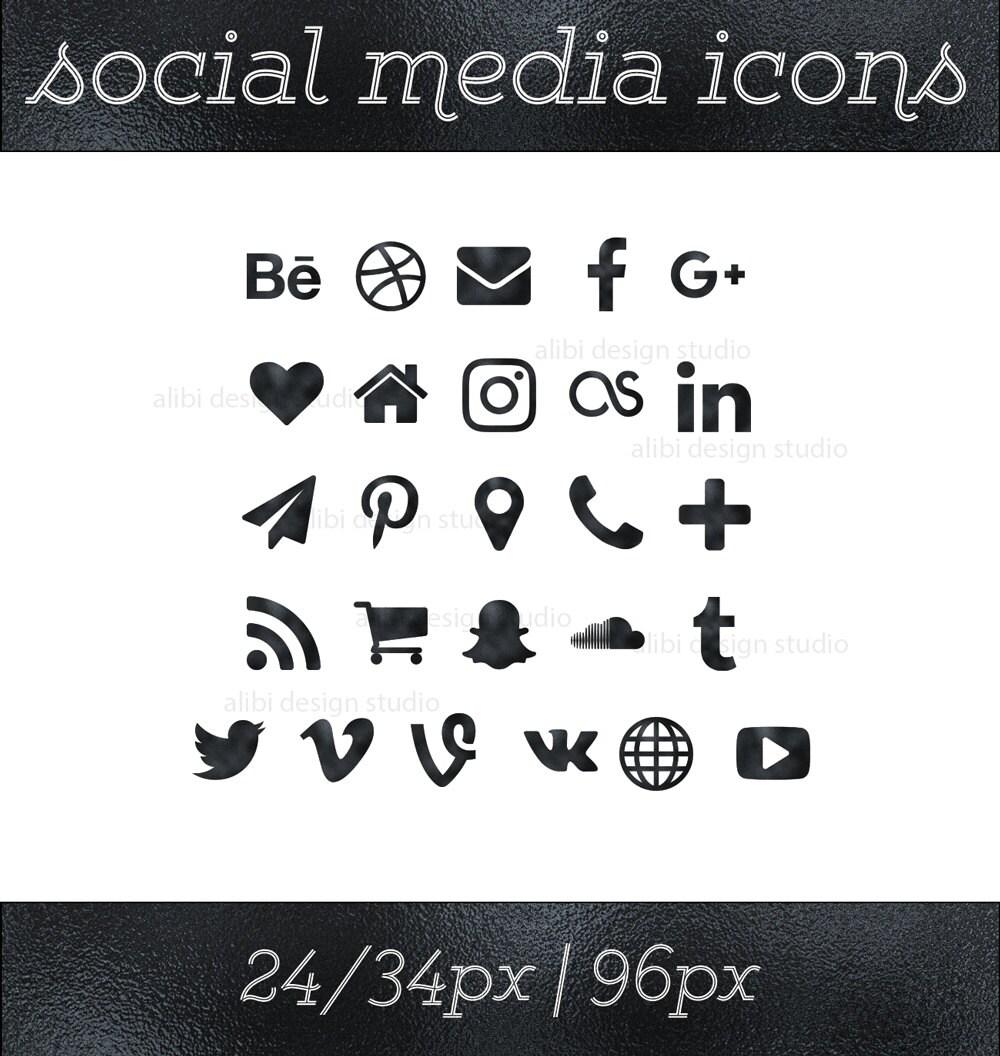 Social media icons black foil icons black button social zoom magicingreecefo Images