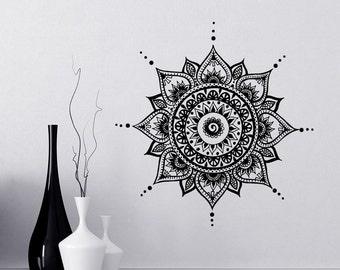 Mandala Decals Mehndi Vinyl Sticker Bedroom Wall Decal Lotus Flower Boho Indian Decor Yoga Buddha Stickers  T108