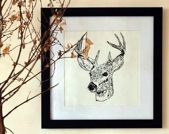 Scottish Deer Lino Cut Print