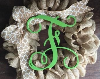Traditional Burlap Wreath with Monogram