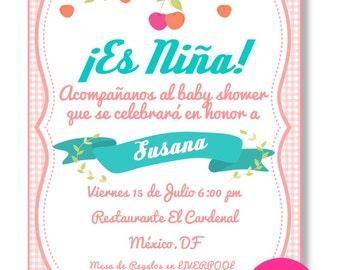 Invitation Baby girl Digital, downloadable, custom Shower
