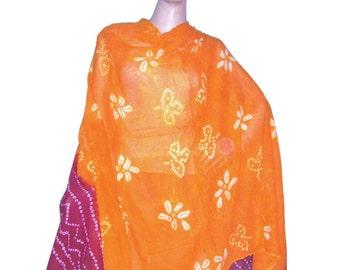 Orange & Red Tie-Dye Ethnic Traditional Bandhej Cotton Scarf