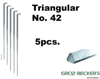 Triangular felting needles, Gauge 42. Price for 5pcs. Made in Germany.
