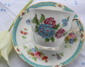 Mix and match: Royal Vale tea cup and Tuscan, Lowestoft saucer