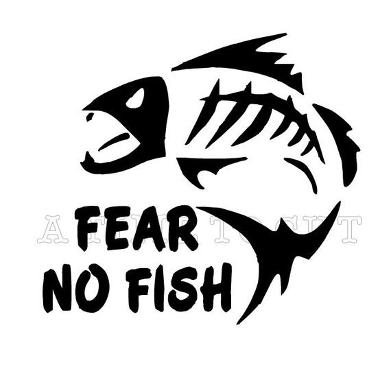 Fear no fish vinyl decal fishing coffee mug yeti by atimetocut for Fishing yeti decal