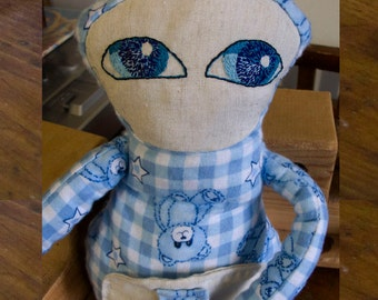The dreamers-Blueberry/Dreamers-Blueberry, OOAK, Art Doll, plush, Soft Doll, Plush Doll, soft plush, plush tiles blue/white