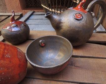 Bronze stoneware tea service