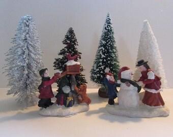 Christmas Trees  - 4 Bottle Brush Trees - with 2 figurines set ,  # 15