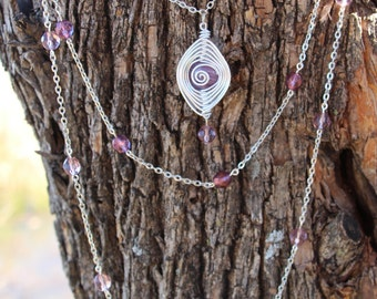 Handmade Purple and Silver Herringbone Style Three Strand Bead and Chain Necklace