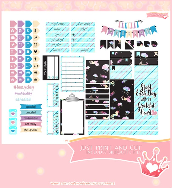 Rainbows & Unicorns | Printable Planner Stickers | Happy Planner | Instant Digital Download with Silhouette file