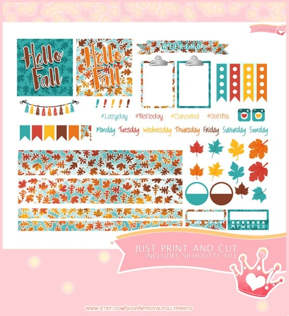 Hello Fall Kit Horizontal | Printable Planner Stickers | Happy Planner Horizontal | Instant Digital Download with Silhouette file
