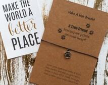 Make A Wish Bracelet / Charm Bracelet - A True Friend Leaves Paw Prints On Your Heart