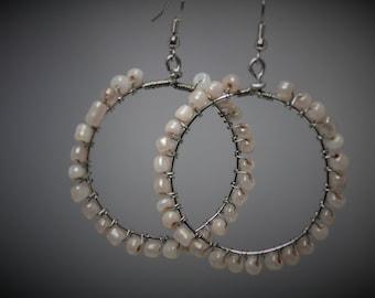 Light Pink Glass Beaded Wire Wrapped Hoop Earrings