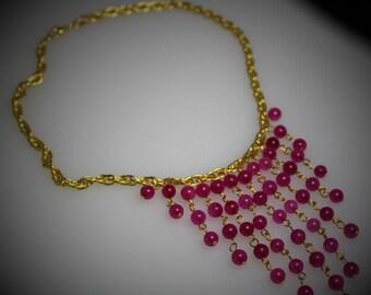 Gold & Fuchsia Quartz Bib Choker Necklace
