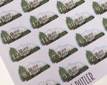 M006--Mountain Vacation Countdown Planner Stickers, Planning, Camping, Skiing, National Park, Rockies, Smokey Mountains, Cabin Erin Condren