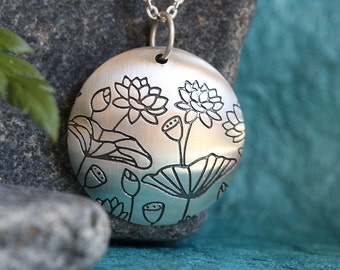 Etched Lotus.....Sterling Silver, Buds Blossoms and Seed Pods.