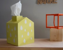 Wooden Tissue Box Cover Kleenex Tissue Box Cover Nursery Decoration wooden house with chimney