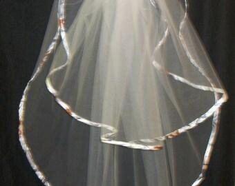 Camo Trimmed Wedding Veil