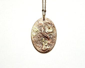 LEO - Oval modern necklace, minimalist, geometric, brass & copper
