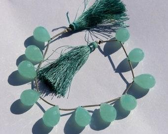 1/2 Strand 6 pcs 11x16 mm Aqua Chalcedony Faceted Teardrop Briolaettes, Gemstone Briolette, Semiprecious Beads BR36