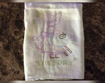 Vintage Hand Embroidered Muslin Tea Towel