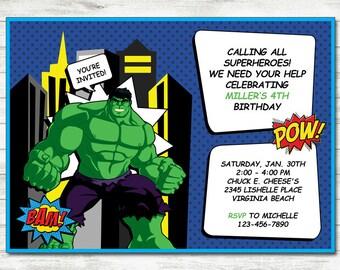 Hulk Invitation, Hulk Party, Hulk Printable Birthday Invitation