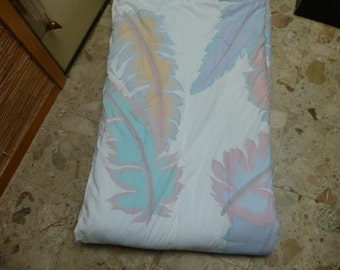 WAMSUTTA KING COMFORTER  and king flat sheet pastel feathers lux set