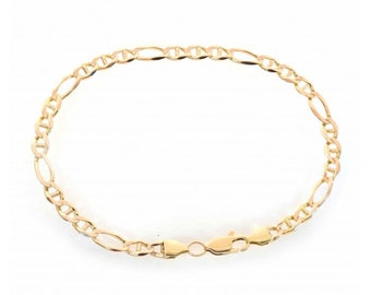 4.6mm 14K Yellow Gold Figarucci Link Chain Bracelet