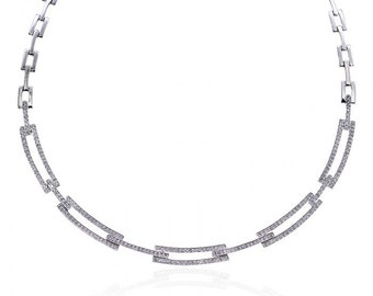 2.75 Carat Diamond Rectangular Link Chain 14K White Gold Necklace