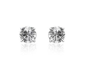 0.20 Carat Round Brilliant Cut Diamond Stud Earrings 14K White Gold
