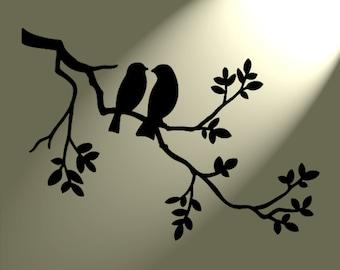 Shabby Chic Stencil 2 birds in tree Rustic Mylar. Vintage style A4 297x210mm