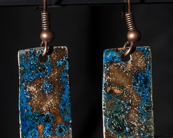 Blue patina, copper earrings