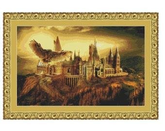 SALE half price cross stitch pattern Hogwarts Scool ,Instant download PDF Pattern