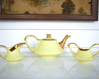 Pearl China Co. Hand Decorated 24kt Gold Trimmed Teapot Set Yellow Retro Vintage Art Deco Tea Creamer Sugar