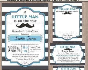Mustache Baby Shower Invitation, Mustache Invitation set, Little Man Baby Shower Invitation, baby shower mustache, baby shower boy, grey