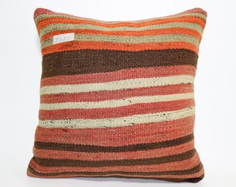 Turkish Striped Kilim Pillow Cushion cover 16x16 Ethnic Pillow natural pillow throw pillow boho pillow Multicolour pillow SP4040-1410