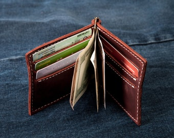 Mens wallet, Leather Wallet, Money Clip Wallet, Personalized Wallet, Groomsmen Gift, gift for groom, husband gift, boyfriend gift, gifts