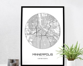 Minneapolis Map Print - City Map Art of Minneapolis Minnesota Poster - Coordinates Wall Art Gift - Travel Map - Office Home Decor